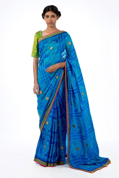Shop blue pure silk shiburi print saree online in USA with marodi work blouse. Find a range of Swati Vijaivargie sarees at Pure Elegance clothing store in USA. Keep your ethnic look perfect with a range of traditional Indian clothing, pure silk sarees, wedding saris and much more also available at our online store.-full view