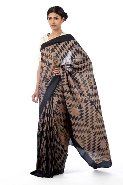 Shop black silk shiburi print saree online in USA with marodi work blouse. Find a range of Swati Vijaivargie sarees at Pure Elegance clothing store in USA. Keep your ethnic look perfect with a range of traditional Indian clothing, pure silk sarees, wedding saris and much more also available at our online store.-full view