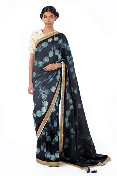 Shop black color silk shiburi saree online in USA with marodi work blouse. Find a range of Swati Vijaivargie saris at Pure Elegance clothing store in USA. Keep your ethnic look perfect with a range of traditional Indian clothing, pure silk sarees, wedding saris and much more also available at our online store.-full view