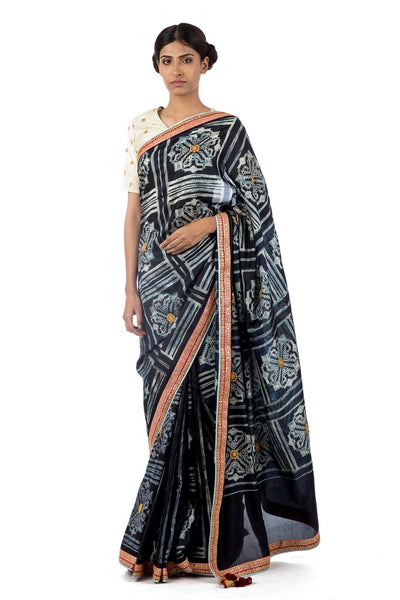 Buy black silk shiburi print saree online in USA with marodi work blouse. Find a range of Swati Vijaivargie saris at Pure Elegance clothing store in USA. Keep your ethnic look perfect with a range of traditional Indian clothing, pure silk saris, wedding saris and much more also available at our online store.-full view