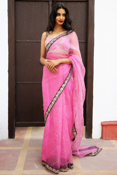 Buy blush pink embroidered saree online in USA with blouse. Get party ready with a stunning range of Indian designer sarees from Pure Elegance fashion store in USA. Shop from a collection of silk sarees, wedding sarees, Banarasi sarees, and Indian clothing for a gorgeous ethnic look.-full view