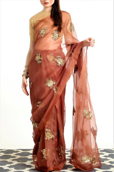 Buy mud brown embroidered organza silk sari with blouse online in USA. Get party ready with a stunning range of Indian designer saris with blouses from Pure Elegance fashion store in USA. Shop from a collection of silk sarees, wedding sarees, Banarasi sarees, and Indian clothing for a gorgeous ethnic look.-full view