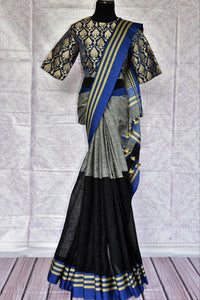 Buy black and grey linen saree with Banarasi blouse online in USA. Find an exquisite range of pure handloom sarees in USA at Pure Elegance Indian clothing store. Enhance your ethnic look with a variety of silk sarees, Banarasi saris, Kanchipuram, and Indian jewelry available at our online store.-full view