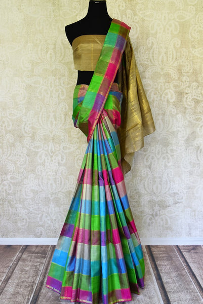 Buy multicolor check Kanjivaram saree online in USA with zari pallu. For Indian women in USA, Pure Elegance fashion store brings a stunning range of traditional Indian Kanchipuram sarees in alluring designs for a rich ethnic style. We also have a range of designer silk sarees, wedding sarees, embroidered saris, Indian clothing at our online store.-full view