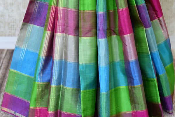 Buy multicolor check Kanjivaram saree online in USA with zari pallu. For Indian women in USA, Pure Elegance fashion store brings a stunning range of traditional Indian Kanchipuram sarees in alluring designs for a rich ethnic style. We also have a range of designer silk sarees, wedding sarees, embroidered saris, Indian clothing at our online store.-pleats