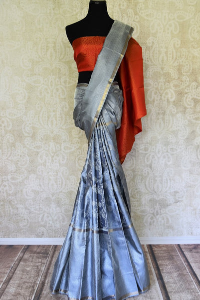Blue Kanjivaram saree with self-weave design for online shopping in USA from Pure Elegance online store. Visit our exclusive Indian clothing store in USA and get floored by a range of exquisite Indian Kanjivaram sarees, handloom sarees, silk sarees, Indian jewelry and much more to complete your ethnic look.-full view