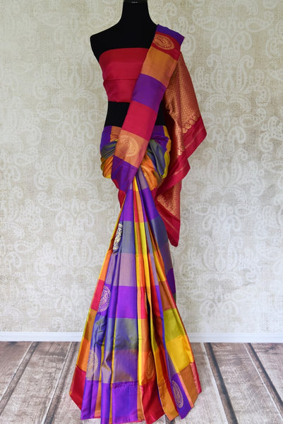 Buy multicolor check Kanjeevaram silk saree with zari buta online in USA from Pure Elegance online store. Visit our exclusive Indian clothing store in USA and get floored by a range of exquisite Indian Kanjivaram saris, handloom sarees, silk sarees, Indian jewelry and much more to complete your ethnic look.-full view