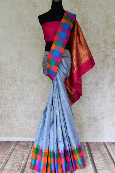 Buy grey Kanjeevaram silk sari with multicolor check border and zari buta online in USA  from Pure Elegance online store. Visit our exclusive Indian clothing store in USA and get floored by a range of exquisite Indian Kanjivaram saris, handloom sarees, silk sarees, Indian jewelry and much more to complete your ethnic look.-full view
