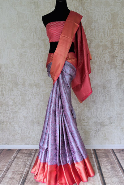 Buy grey Kanjeevaram sari with pink zari border online in USA  from Pure Elegance online store. Visit our exclusive Indian clothing store in USA and get floored by a range of exquisite Indian Kanjivaram saris, handloom sarees, silk sarees, Indian jewelry and much more to complete your ethnic look.-full view