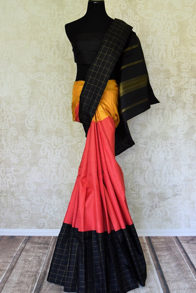 Buy pink and yellow Kanchipuram saree with black zari check border online in USA from Pure Elegance online store. Visit our exclusive Indian clothing store in USA and get floored by a range of exquisite Indian Kanjivaram saris, handloom sarees, silk sarees, Indian jewelry and much more to complete your ethnic look.-full view
