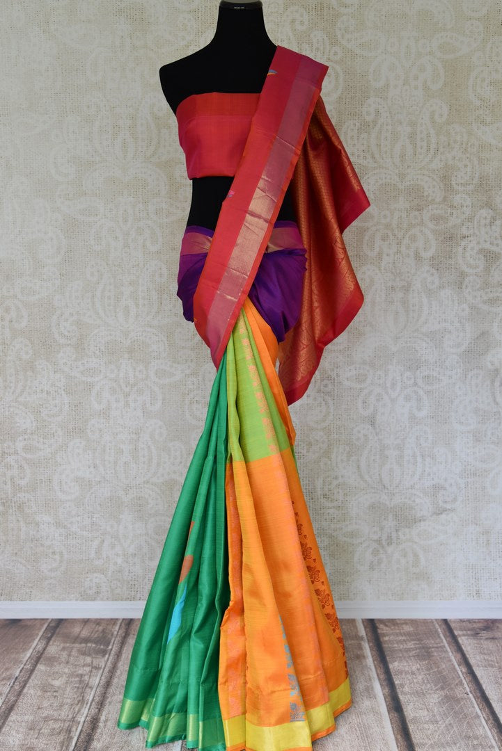 Buy multicolor Kanjeevaram silk saree with red zari pallu online in USA from Pure Elegance online store. Visit our exclusive Indian clothing store in USA and get floored by a range of exquisite Indian Kanjivaram saris, handloom sarees, silk sarees, Indian jewelry and much more to complete your ethnic look.-full view
