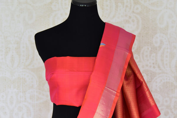 Buy multicolor Kanjeevaram silk saree with red zari pallu online in USA from Pure Elegance online store. Visit our exclusive Indian clothing store in USA and get floored by a range of exquisite Indian Kanjivaram saris, handloom sarees, silk sarees, Indian jewelry and much more to complete your ethnic look.-blouse palluj