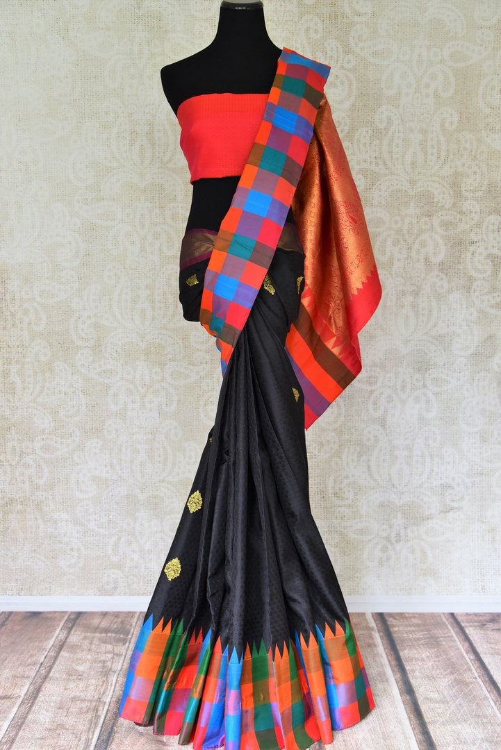 Buy black Kanjeevaram silk saree with multicolor check border and zari buta online in USA from Pure Elegance online store. Visit our exclusive Indian clothing store in USA and get floored by a range of exquisite Indian Kanjivaram saris, handloom sarees, silk sarees, Indian jewelry and much more to complete your ethnic look.-full view