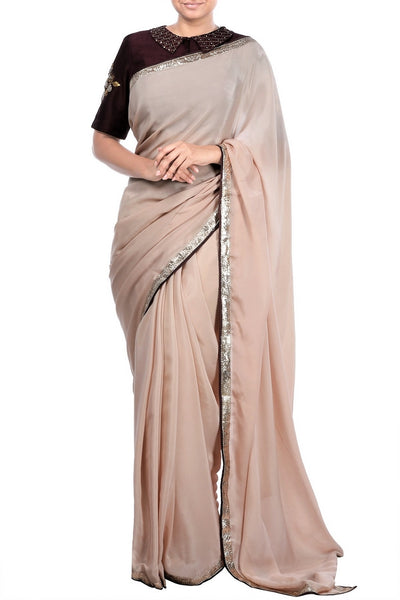 Buy coffee color saree online with embroidered saree blouse in USA at Pure Elegance fashion store. Choose from a range of best Indian designer sarees to elevate your ethnic style. A whole range of Indian handloom sarees, silk sarees, Kanchipuram saris is waiting for you on our shelves. Shop now.-full view