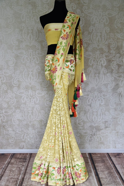 Buy yellow Benarasi georgette saree online in USA with overall floral zari jaal from Pure Elegance online store. Visit our exclusive Indian clothing store in USA and get floored by a range of exquisite pure handloom sarees, Banarasi sarees, silk sarees, Indian jewelry and much more to complete your ethnic look.-full view