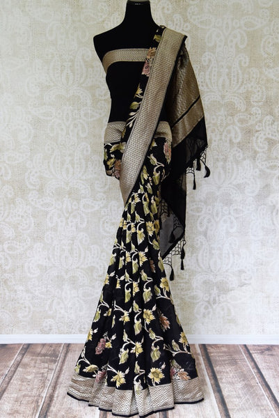 Buy black Benarasi georgette saree online in USA with overall floral zari jaal from Pure Elegance online store. Visit our exclusive Indian clothing store in USA and get floored by a range of exquisite pure handloom sarees, Banarasi sarees, silk sarees, Indian jewelry and much more to complete your ethnic look.-full view