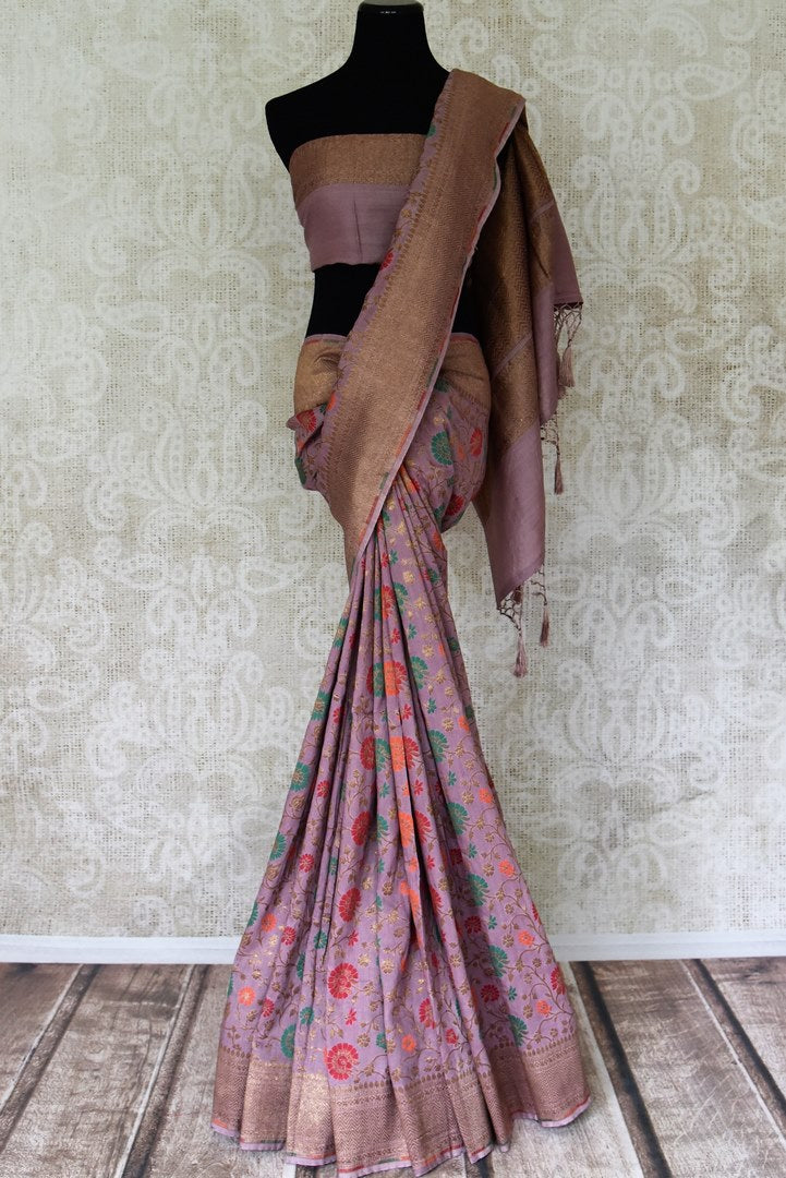 Buy purple color muga Banarasi sari online in USA with zari and minakari work from Pure Elegance online store. Visit our exclusive Indian clothing store in USA and get floored by a range of exquisite pure handloom sarees, Banarasi sarees, silk sarees, Indian jewelry and much more to complete your ethnic look.-full view