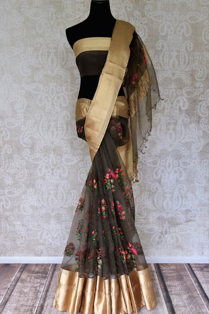 Buy dark grey floral embroidery kora sari with zari border online in USA. Shop pure handloom sarees in USA from Pure Elegance online store. Explore a world of traditional Indian sarees, wedding sarees, embroidered saris and much more at our exclusive Indian clothing store in USA.-full view