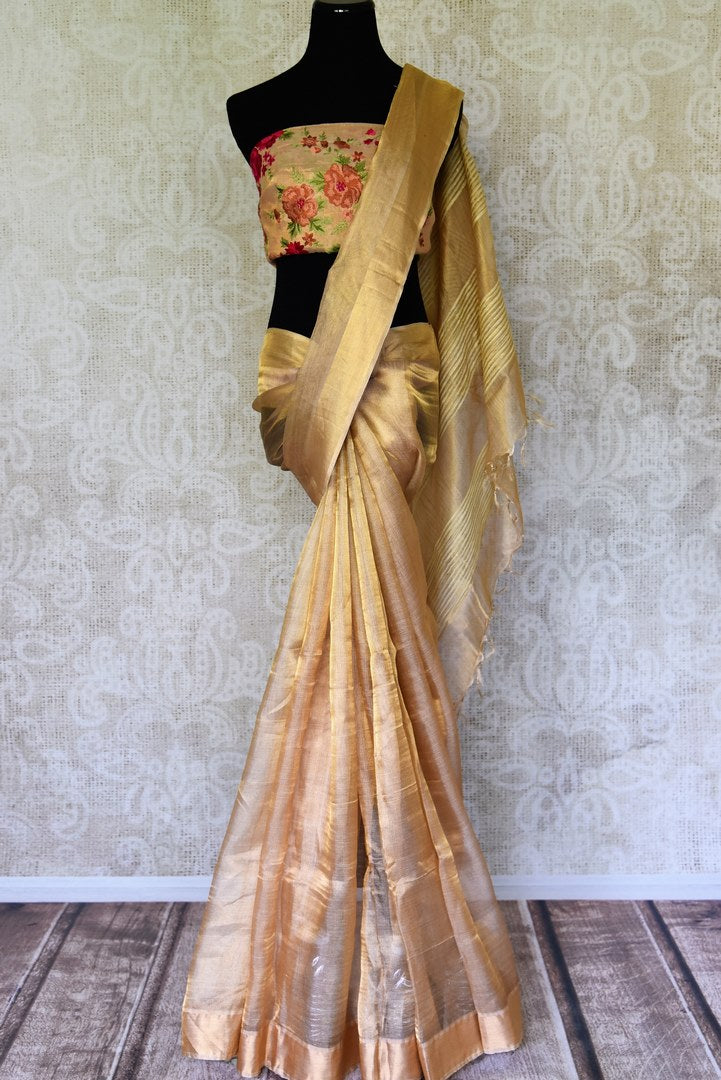 Shop gold tissue silk sari online in USA. Shop pure handloom sarees in USA from Pure Elegance online store. Explore a world of traditional Indian sarees, wedding sarees, embroidered saris and much more at our exclusive Indian clothing store in USA.-full view