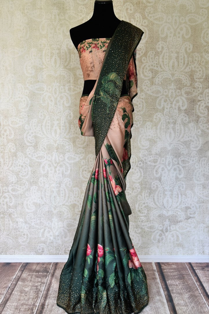 Buy peach and green floral print crepe saree online in USA with swarovski work. Shop traditional Indian sarees in USA from Pure Elegance online store. Explore a world of designer sarees, wedding sarees, embroidered saris and much more at our exclusive Indian clothing store in USA.-full view
