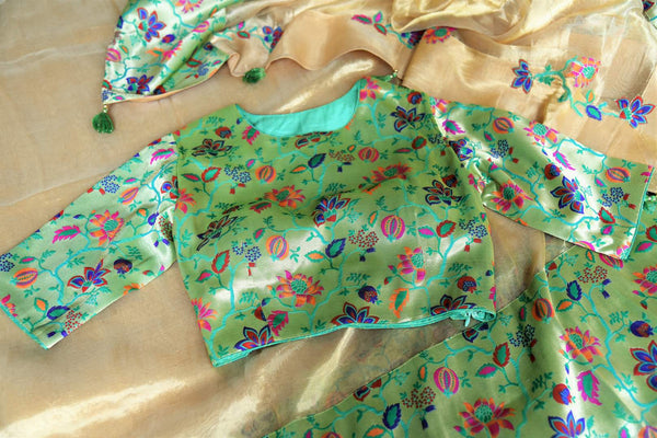 Buy gold tissue silk saree with saree blouse online in USA. Shop stunning Banarasi sarees in USA from Pure Elegance online store. Explore a world of Indian designer sarees, wedding sarees, pure silk sarees, embroidered saris and much more at our exclusive Indian clothing store in USA.-details