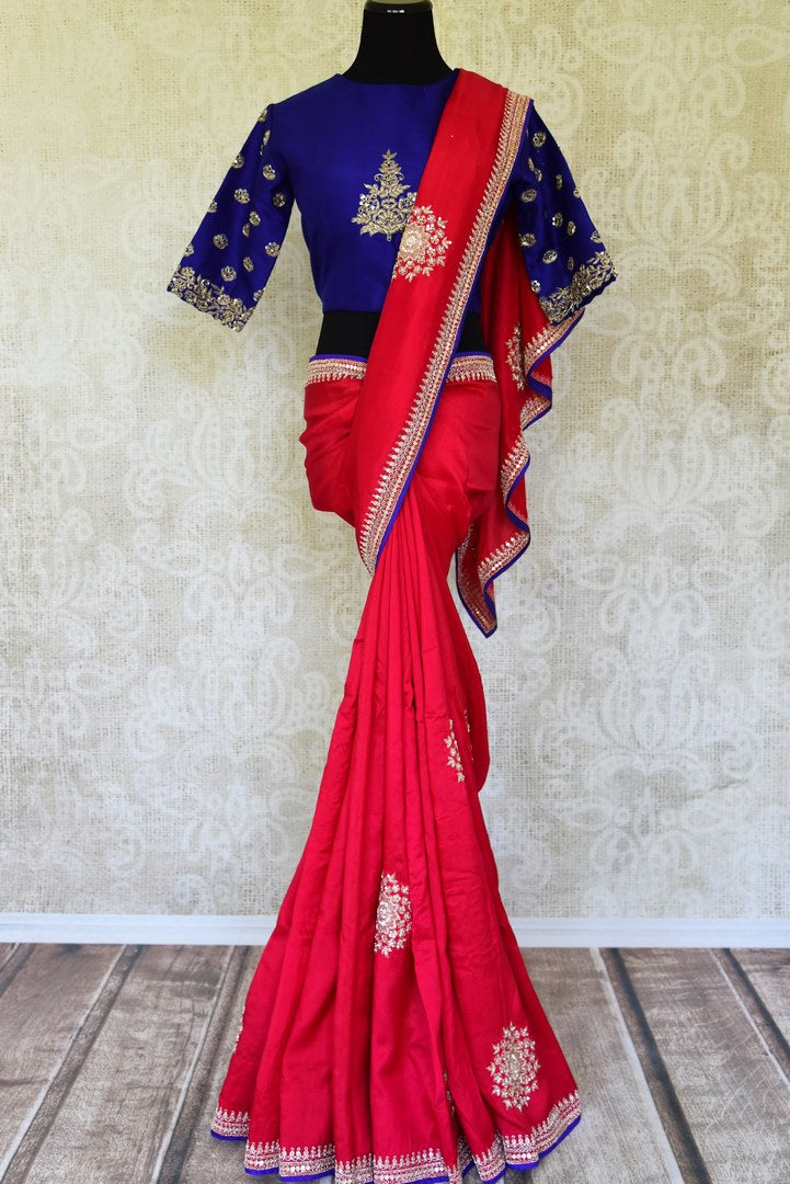 Shop pink embroidered muga sari with embroidered saree blouse online in USA from Pure Elegance. Be an epitome of Indian fashion on special occasions with beautiful designer sarees, Banarasi sarees available at our Indian fashion store in USA. -full view