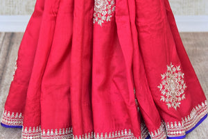 Shop pink embroidered muga sari with embroidered saree blouse online in USA from Pure Elegance. Be an epitome of Indian fashion on special occasions with beautiful designer sarees, Banarasi sarees available at our Indian fashion store in USA. -pleats