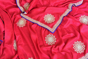 Shop pink embroidered muga sari with embroidered saree blouse online in USA from Pure Elegance. Be an epitome of Indian fashion on special occasions with beautiful designer sarees, Banarasi sarees available at our Indian fashion store in USA. -details