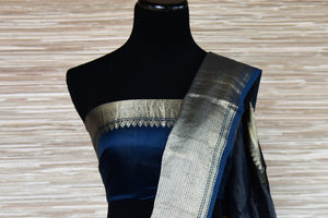 Buy blue printed mulberry silk sari online in USA with silver zari border from Pure Elegance. Be an epitome of Indian fashion with an exquisite variety of Indian handloom saris, pure silk sarees, Bollywood sarees from our exclusive fashion store in USA.-blouse pallu