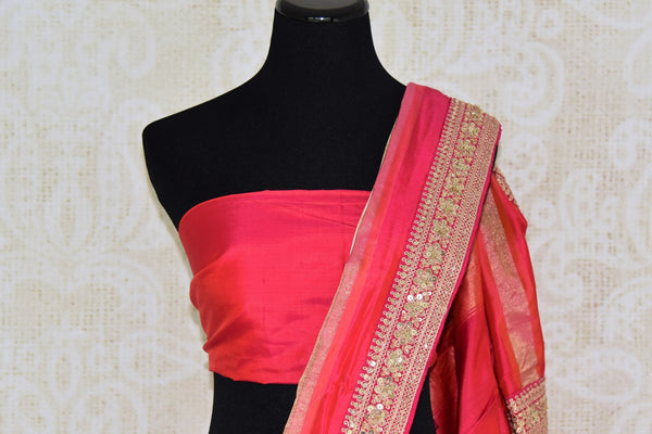 Buy cream ikkat silk saree with pink embroidered border online in USA. Shop stunning silk sarees in USA from Pure Elegance online store. Explore a world of traditional Indian sarees, wedding sarees, embroidered saris and much more at our exclusive Indian clothing store in USA.-blouse pallu