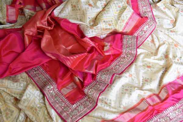 Buy cream ikkat silk saree with pink embroidered border online in USA. Shop stunning silk sarees in USA from Pure Elegance online store. Explore a world of traditional Indian sarees, wedding sarees, embroidered saris and much more at our exclusive Indian clothing store in USA.-details