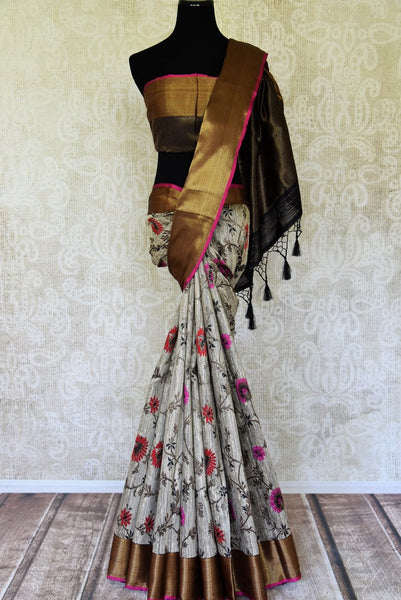 Buy elegant grey tussar Benarasi sari with zari border online in USA. Find a splendid collection of Indian handloom sarees in USA at Pure Elegance Indian clothing store. Drape yourself in beautiful pure silk saris, Banarasi sarees, embroidered saris on festive occasions from our online store.-full view
