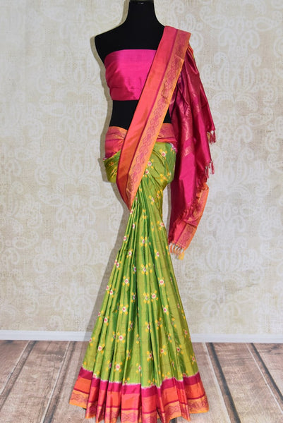 Shop green ikat silk saree online in USA from Pure Elegance. Be occasion ready always with a range of beautiful designer saris, pure silk sarees, handloom saris, Kanchipuram sarees available at our Indian fashion store in USA. Grab your favorite pieces now also available at our online store.-full view