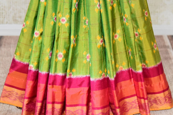 Shop green ikat silk saree online in USA from Pure Elegance. Be occasion ready always with a range of beautiful designer saris, pure silk sarees, handloom saris, Kanchipuram sarees available at our Indian fashion store in USA. Grab your favorite pieces now also available at our online store.-pleats