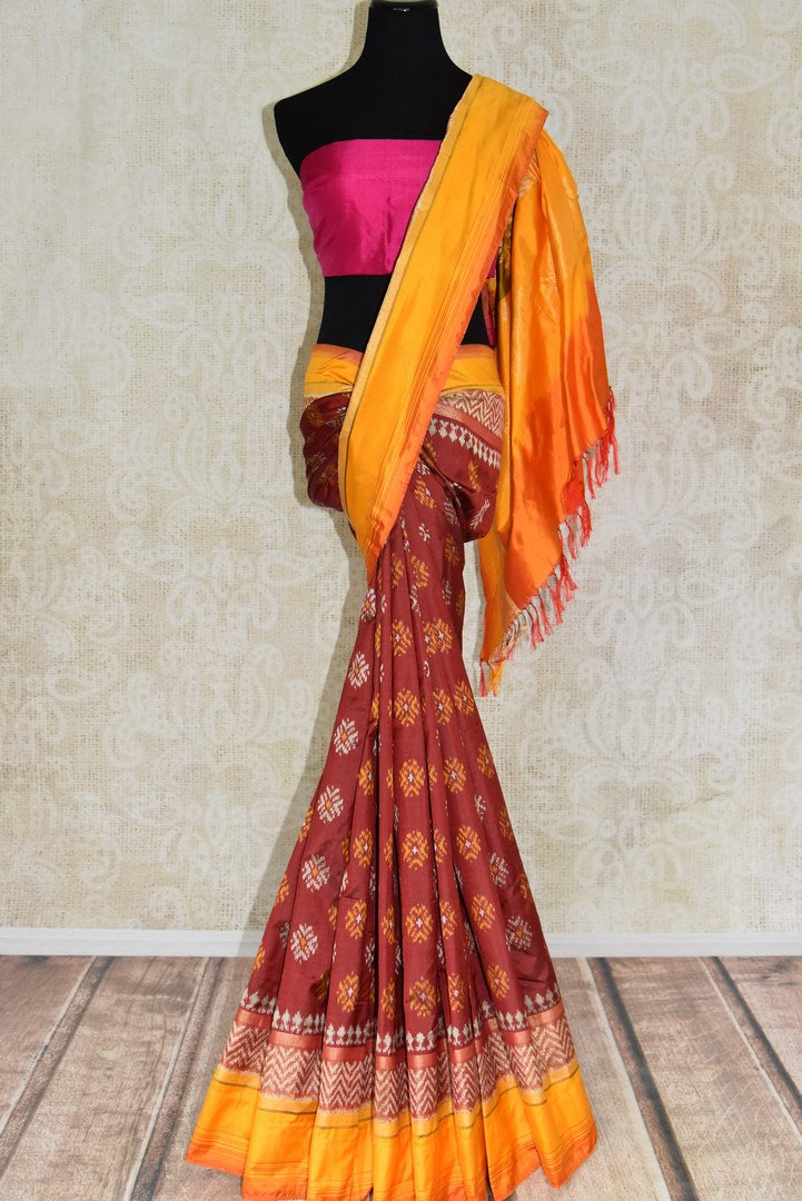 Buy ethnic maroon ikat silk saree online in USA from Pure Elegance. Be occasion ready always with a range of beautiful designer saris, pure silk sarees, handloom saris, Kanchipuram sarees available at our Indian fashion store in USA. Grab your favorite pieces now also available at our online store.-full view