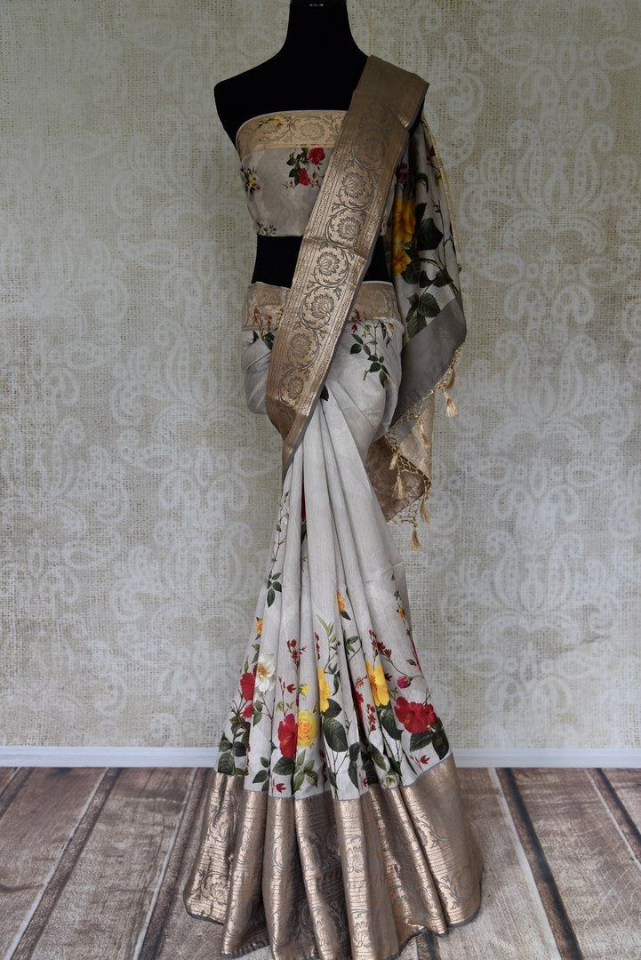 Shop Light grey chanderi linen sari with zari border online in USA from Pure Elegance. Be occasion ready always with a range of beautiful traditional handwoven sarees, pure silk sarees, Banarasi saris, Kanchipuram sarees available at our Indian fashion store in USA. Grab your favorite pieces now also available at our online store.-full view