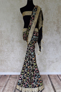 Shop black georgette Banarasi saree with zari work online in USA from Pure Elegance. Update your wardrobe with Indian designer sarees available at our Indian fashion store in USA. -full view