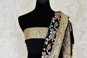 Shop black georgette Banarasi saree with zari work online in USA from Pure Elegance. Update your wardrobe with Indian designer sarees available at our Indian fashion store in USA. -blouse pallu