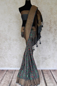 Buy grey muga Benarasi sari online in USA with minakari zari floral jaal. Shine bright on special occasions with traditional Indian sarees, Banarasi sarees, pure silk sarees in rich colors and designs from Pure Elegance Indian fashion store in USA.-full view