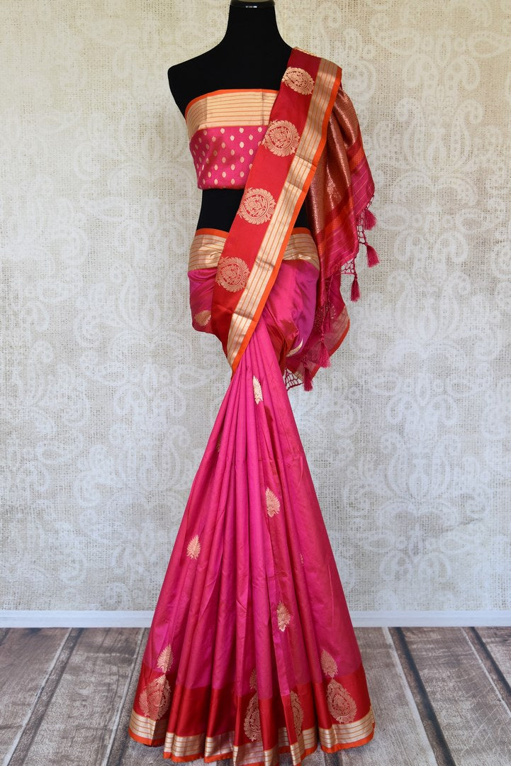 Shop pink Banarasi silk sari online in USA with red zari buta border from Pure Elegance Indian clothing store in USA. Refresh your wardrobe this wedding season with an exquisite range of Indian designer sarees, pure silk saris, embroidered sarees from our store in USA or shop online.-full view