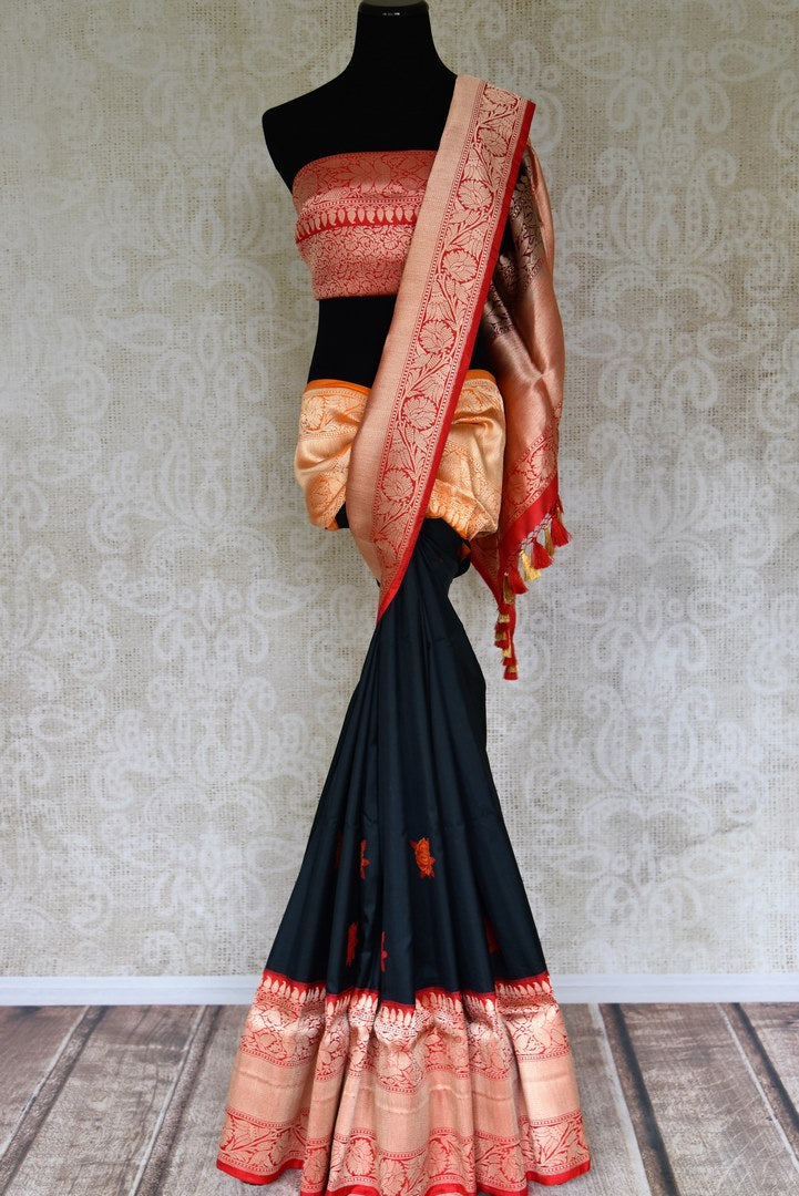 Buy black Banarasi silk saree with red zari border online in USA. Shop more such traditional Indian saris, embroidered sarees, pure silk sarees in USA from Pure Elegance clothing fashion store this wedding season.-full view