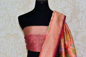 Shop red Banarasi silk saree with zari border online in USA. Find a splendid collection of Indian handloom sarees in USA at Pure Elegance Indian clothing store. Drape yourself in beautiful pure silk sarees, Banarasi saris, embroidered saris on festive occasions from our online store.-blouse pallu