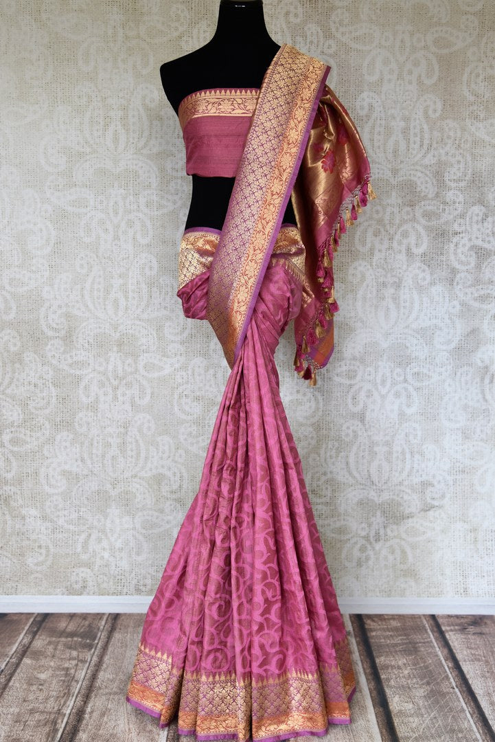 Shop mauve Banarasi saree online in USA with zari border and pallu. Shop more such exquisite Indian saris in USA from Pure Elegance. Get floored by a range of designer sarees, pure silk sarees, Kanchipuram silk saris at our Indian fashion store in USA.-full view