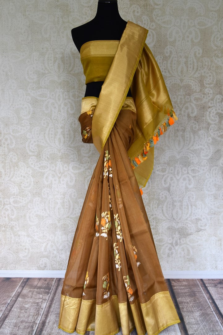 Buy brown organza Banarasi saree online in USA with floral minakari zari buta and zari border. Get festival ready with a range of exquisite handcrafted Indian saris, traditional Banarasi sarees, silk sarees from Pure Elegance Indian clothing store in USA.-full view