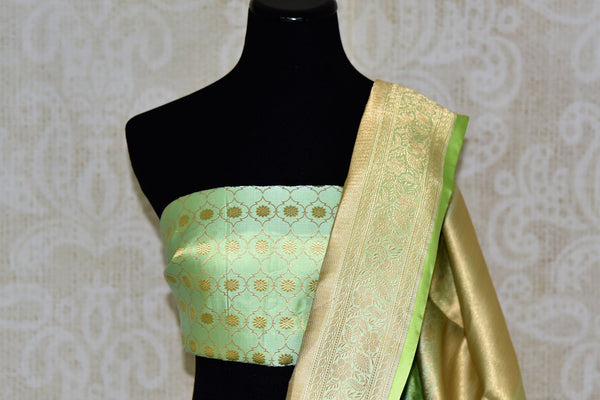Buy green color Banarasi silk saree with gold zari border online in USA. Find a splendid collection of Indian handloom sarees in USA at Pure Elegance Indian clothing store. Drape yourself in beautiful pure silk sarees, Banarasi saris, embroidered sarees on festive occasions from our online store.-blouse pallu