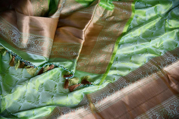 Buy green color Banarasi silk saree with gold zari border online in USA. Find a splendid collection of Indian handloom sarees in USA at Pure Elegance Indian clothing store. Drape yourself in beautiful pure silk sarees, Banarasi saris, embroidered sarees on festive occasions from our online store.-details