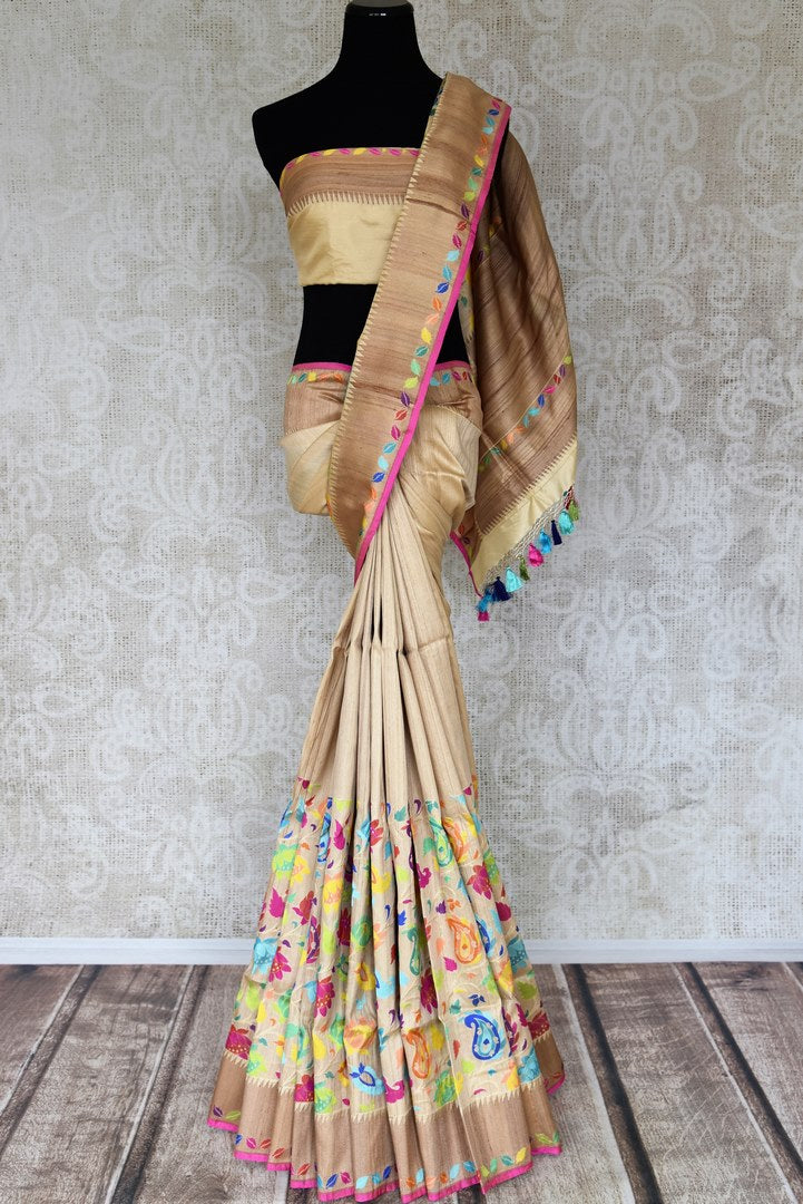 Shop beige Banarasi silk sari online in USA with bright floral jaal on border. Enhance your ethnic look with beautiful Indian designer sarees from Pure Elegance. Shop from a splendid collection of Banarasi sarees, traditional silk saris, Kanchipuram sarees from our exclusive Indian clothing store in USA.-full view