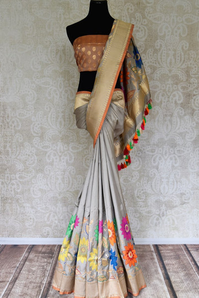 Shop grey Banarasi silk saree online in USA with floral minakari zari border. Get festival ready with a range of exquisite handcrafted Indian saris, traditional Banarasi sarees, silk sarees from Pure Elegance Indian clothing store in USA.-full view