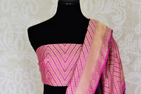 Buy bright purple Banarasi silk saree with pink zari border online in USA. Find a splendid collection of Indian handloom sarees in USA at Pure Elegance Indian clothing store. Drape yourself in beautiful pure silk sarees, Banarasi saris, embroidered sarees on festive occasions from our online store.-blouse pallu