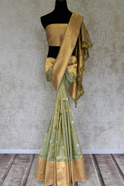 Shop golden green tissue Benarasi sari online in USA with zari border and buta. Be the talk of every occasion in beautiful Indian designer saris, pure silk sarees, Banarasi sarees from Pure Elegance clothing fashion store in USA this wedding season.-full view